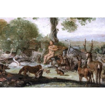 Sinibaldo Scorza (1589-1631) , Orpheus Enchante Les Animaux, Huile Sur Panneau.