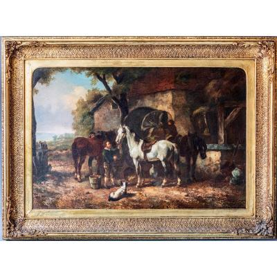Charles Philogene Tschaggeny (1815-1894), Horses And Peasants At Rest, Oil On Canvas, Signed