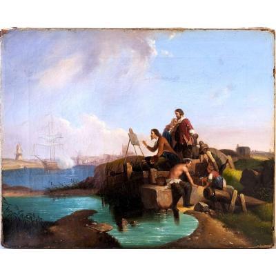 Pieter Cornelis Dommersen, Attribué, Joseph Vernet Peint à Dordrecht, Huile Sur Toile
