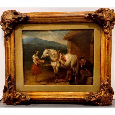 Abraham Cooper (1787–1868), Scène Avec Cheval, Late XIX Century, Huile Sur Panneau