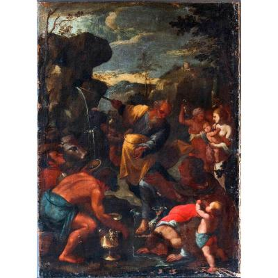 Cercle De Giacinto Gimignani (1606-1681) , Moïse Fait Jaillir l'Eau Du Rocher, Huile Sur Toile