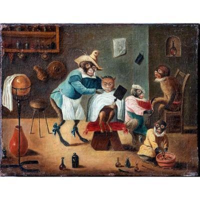 Abraham Teniers, Singes Au Salon De Coiffure, Huile Sur Toile