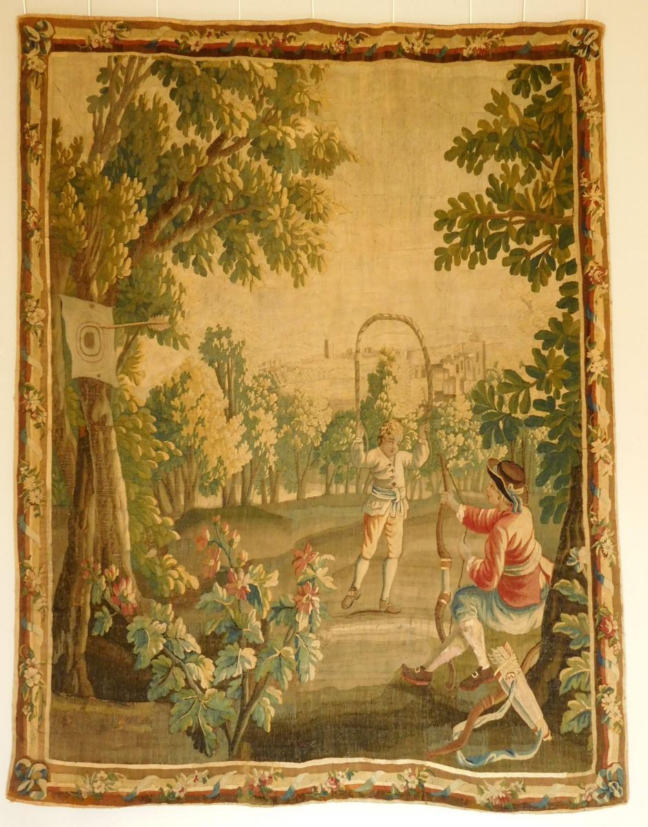 Tapisserie d'Aubusson Polychrome, Laine Et Soie, Jeux Dans Le Parc époque Louis XVI 160 X 200cm