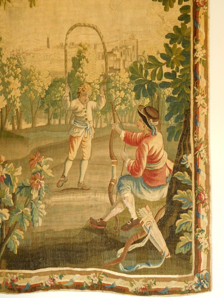Tapisserie d'Aubusson Polychrome, Laine Et Soie, Jeux Dans Le Parc époque Louis XVI 160 X 200cm-photo-2