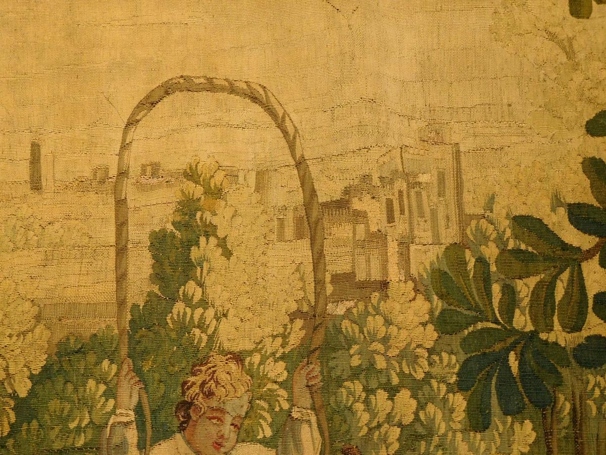 Tapisserie d'Aubusson Polychrome, Laine Et Soie, Jeux Dans Le Parc époque Louis XVI 160 X 200cm-photo-3