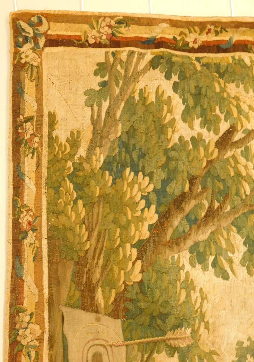 Tapisserie d'Aubusson Polychrome, Laine Et Soie, Jeux Dans Le Parc époque Louis XVI 160 X 200cm-photo-6
