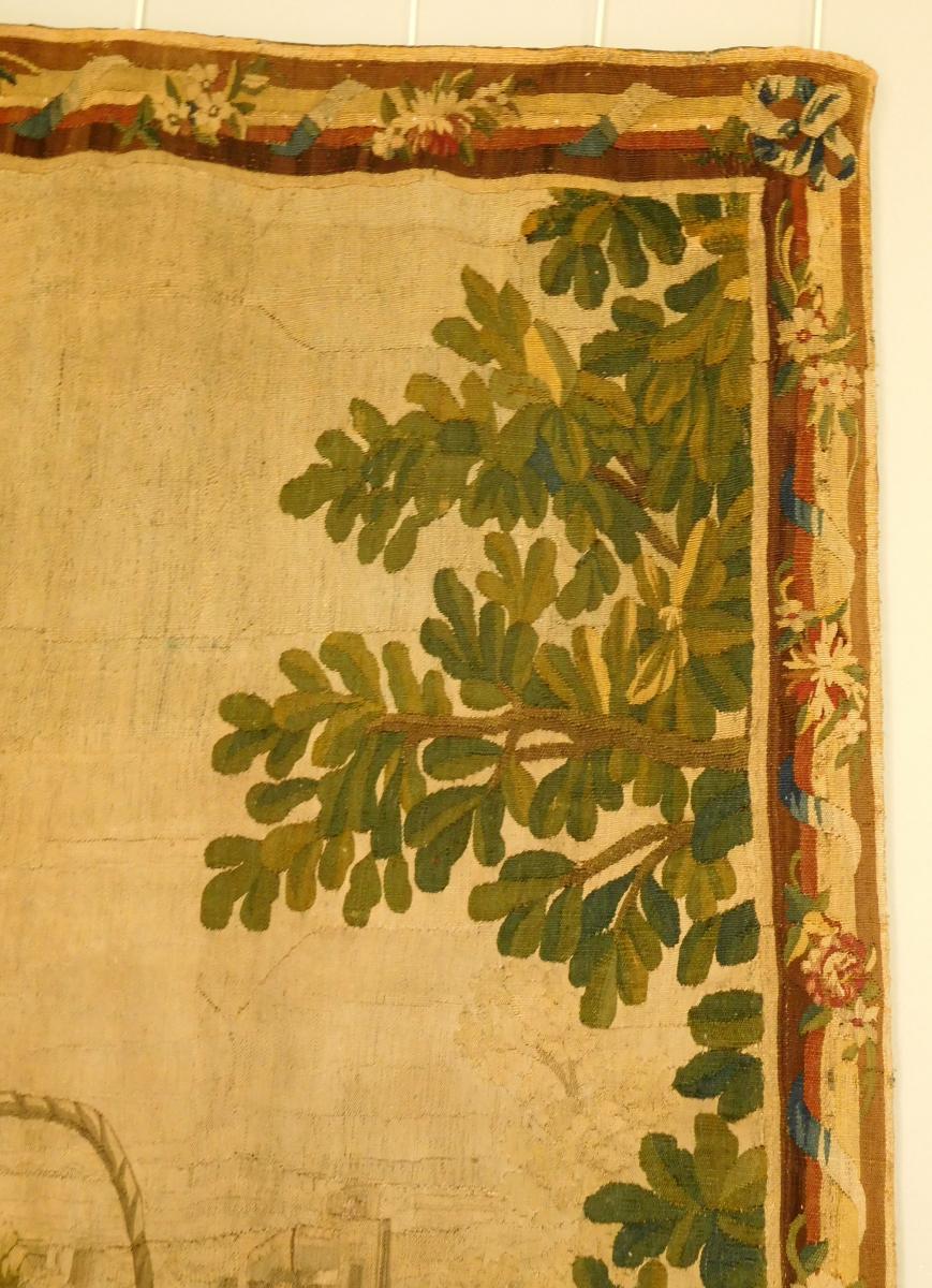 Tapisserie d'Aubusson Polychrome, Laine Et Soie, Jeux Dans Le Parc époque Louis XVI 160 X 200cm-photo-7