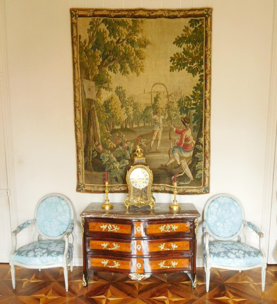 Tapisserie d'Aubusson Polychrome, Laine Et Soie, Jeux Dans Le Parc époque Louis XVI 160 X 200cm-photo-8