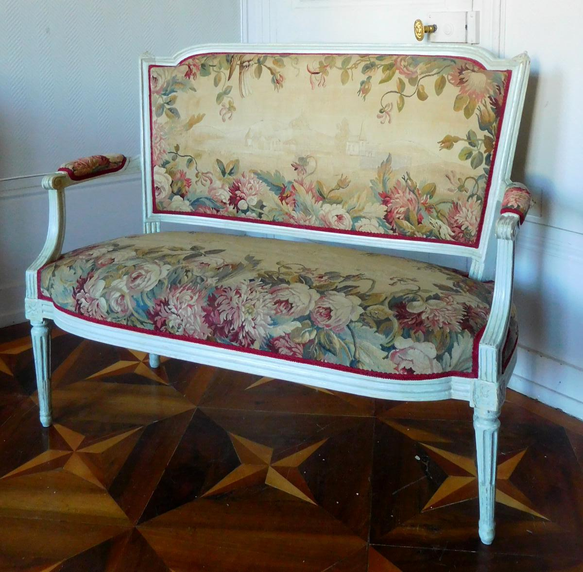 2 Seats Louis XVI Sofa With Aubusson Tapestry - Circa 1780