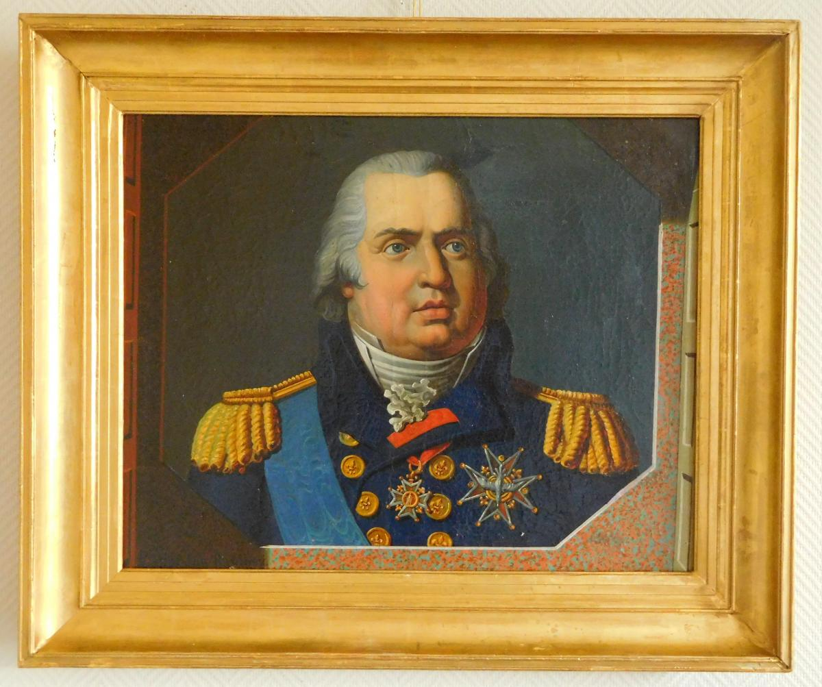 Portrait Of Louis XVIII King Of France And Navarre - Oil On Canvas Restoration Period