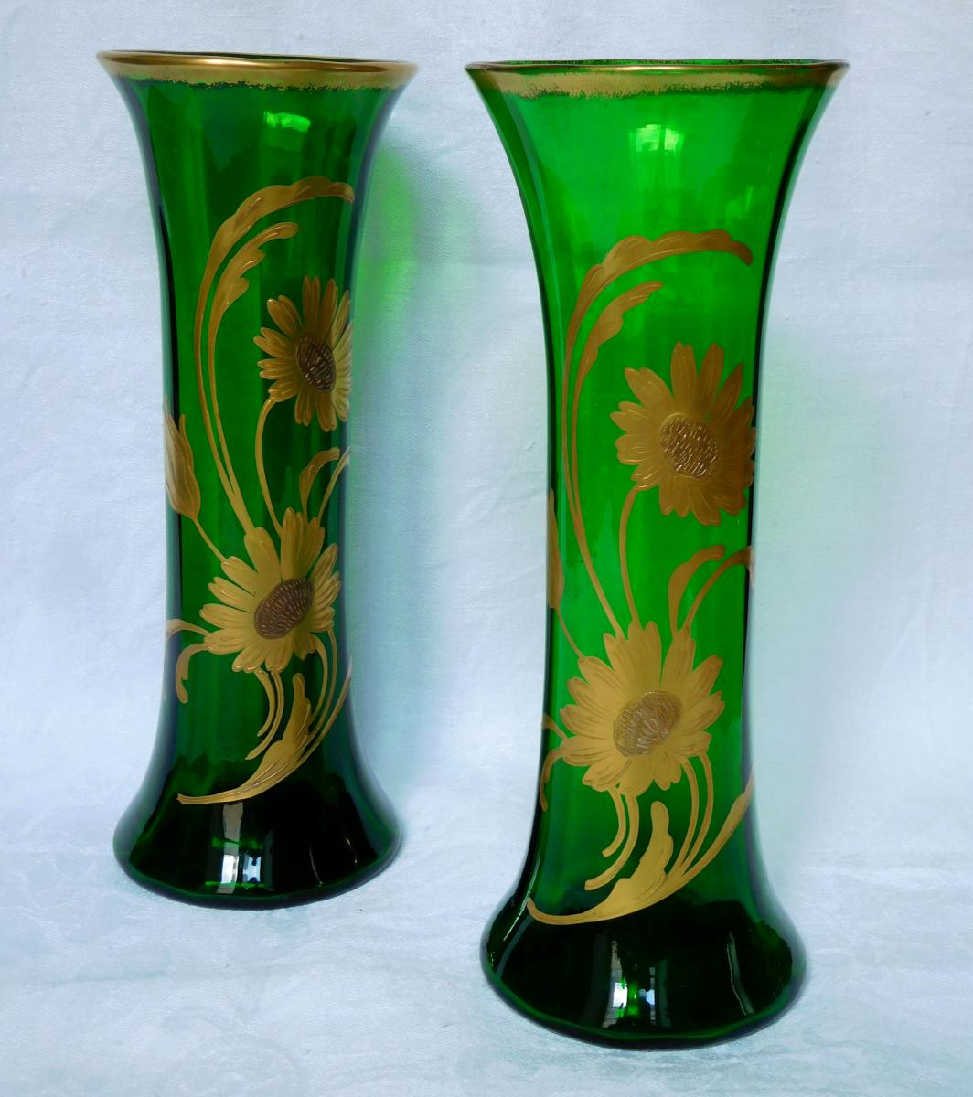 Pair Of Saint Louis Crystal Green Vases - Fine Gold Floral Decoration - Circa 1900