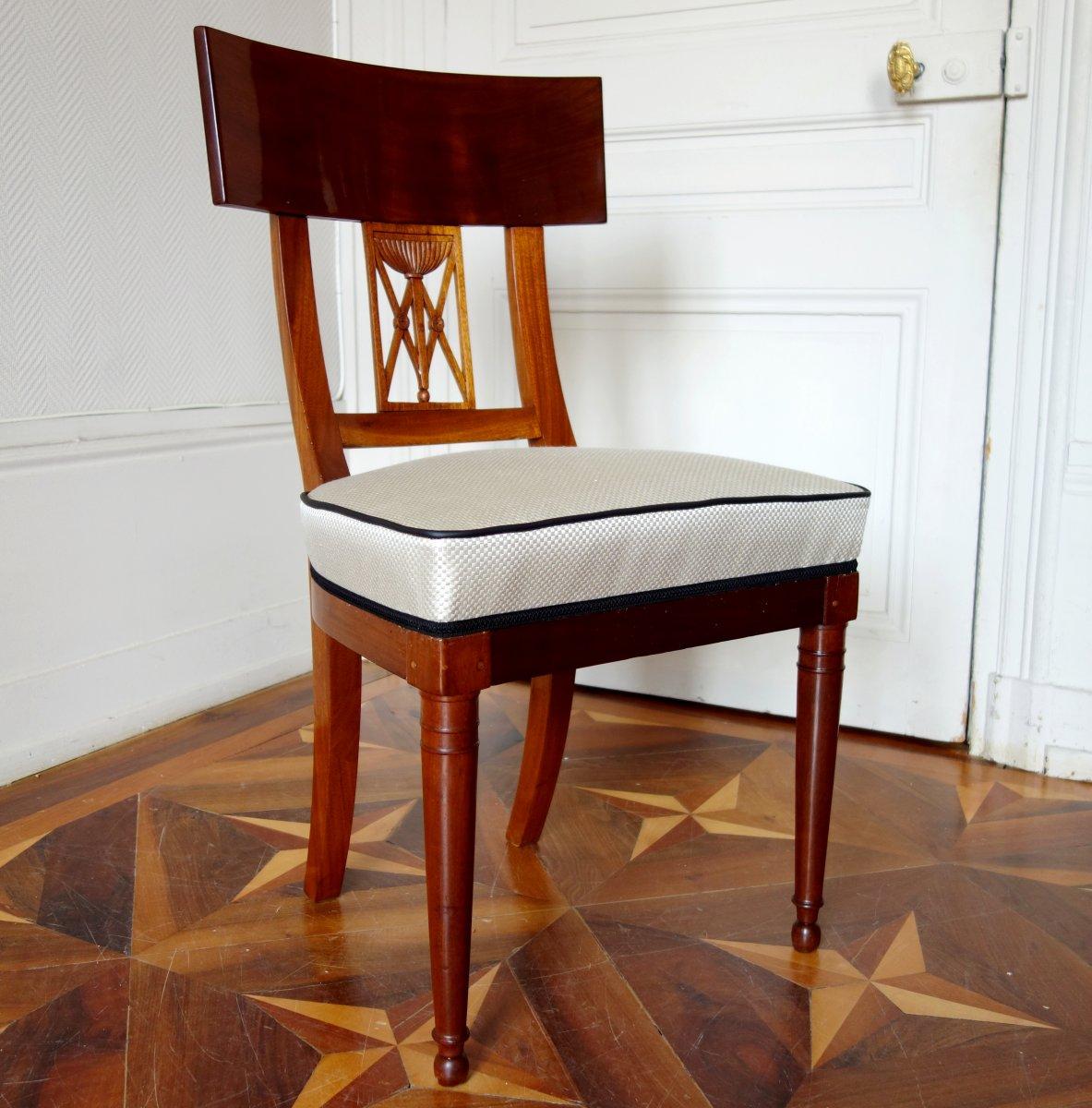 6 Chaises De Salle à Manger Klismos d'époque Consulat Empire Vers 1800