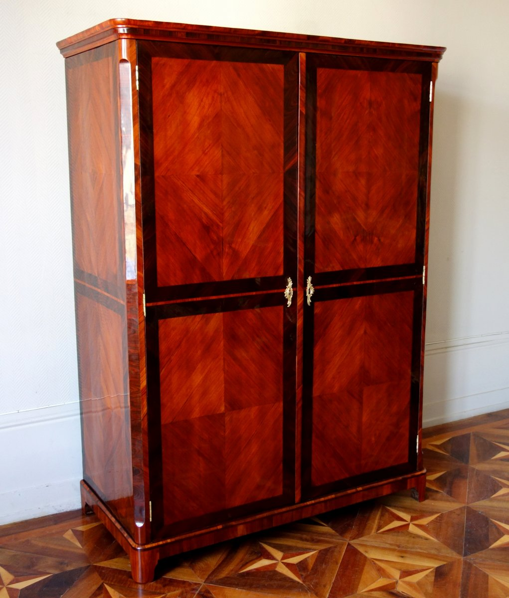 Claude Charles Saunier - Large Marquetry Wardrobe - Louis XV Transition Period - Stamped-photo-3