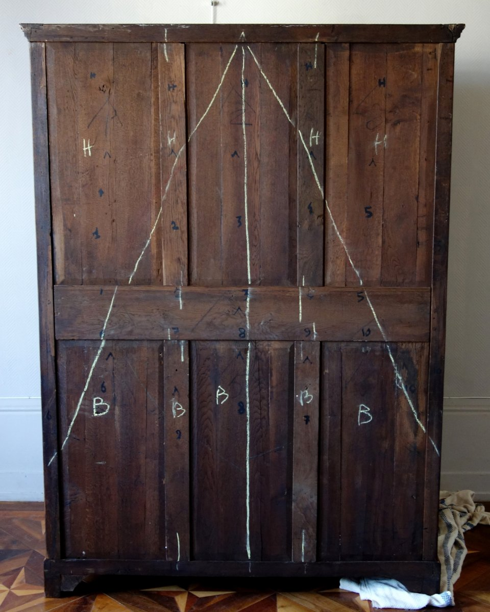 Claude Charles Saunier - Large Marquetry Wardrobe - Louis XV Transition Period - Stamped-photo-5