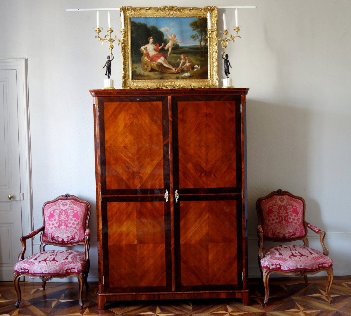 Claude Charles Saunier - Large Marquetry Wardrobe - Louis XV Transition Period - Stamped-photo-7