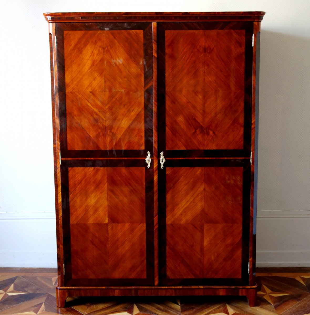 Claude Charles Saunier - Large Marquetry Wardrobe - Louis XV Transition Period - Stamped