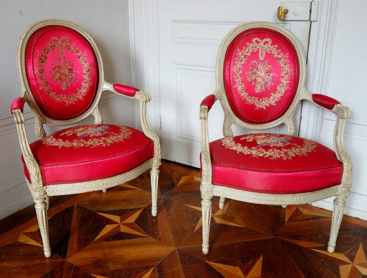 ND Delaisement : Paire De Luxueux Fauteuils Cabriolets d'époque Louis XVI - Estampille