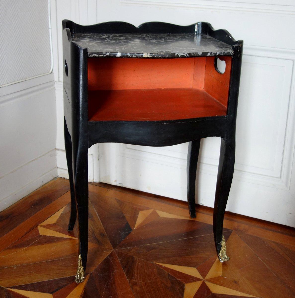Table De Chevet De Salon d'époque Louis XV En Bois Laqué Et Marbre-photo-2