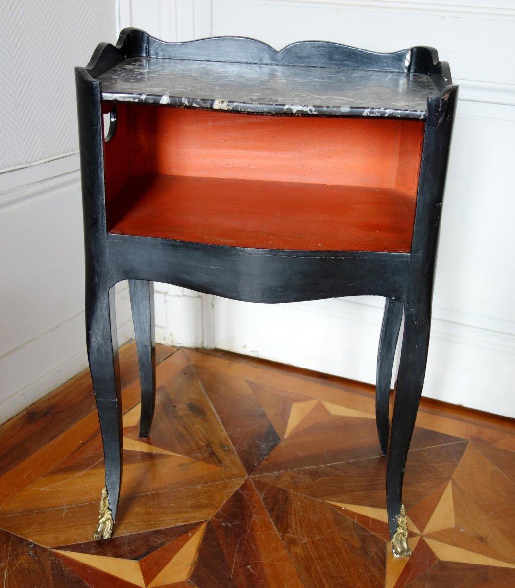 Table De Chevet De Salon d'époque Louis XV En Bois Laqué Et Marbre-photo-4
