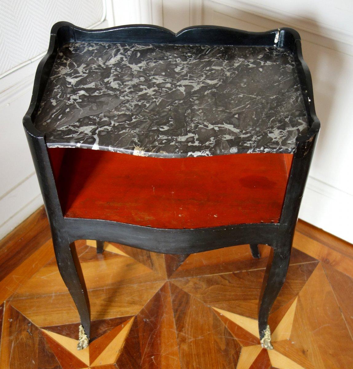 Table De Chevet De Salon d'époque Louis XV En Bois Laqué Et Marbre-photo-1