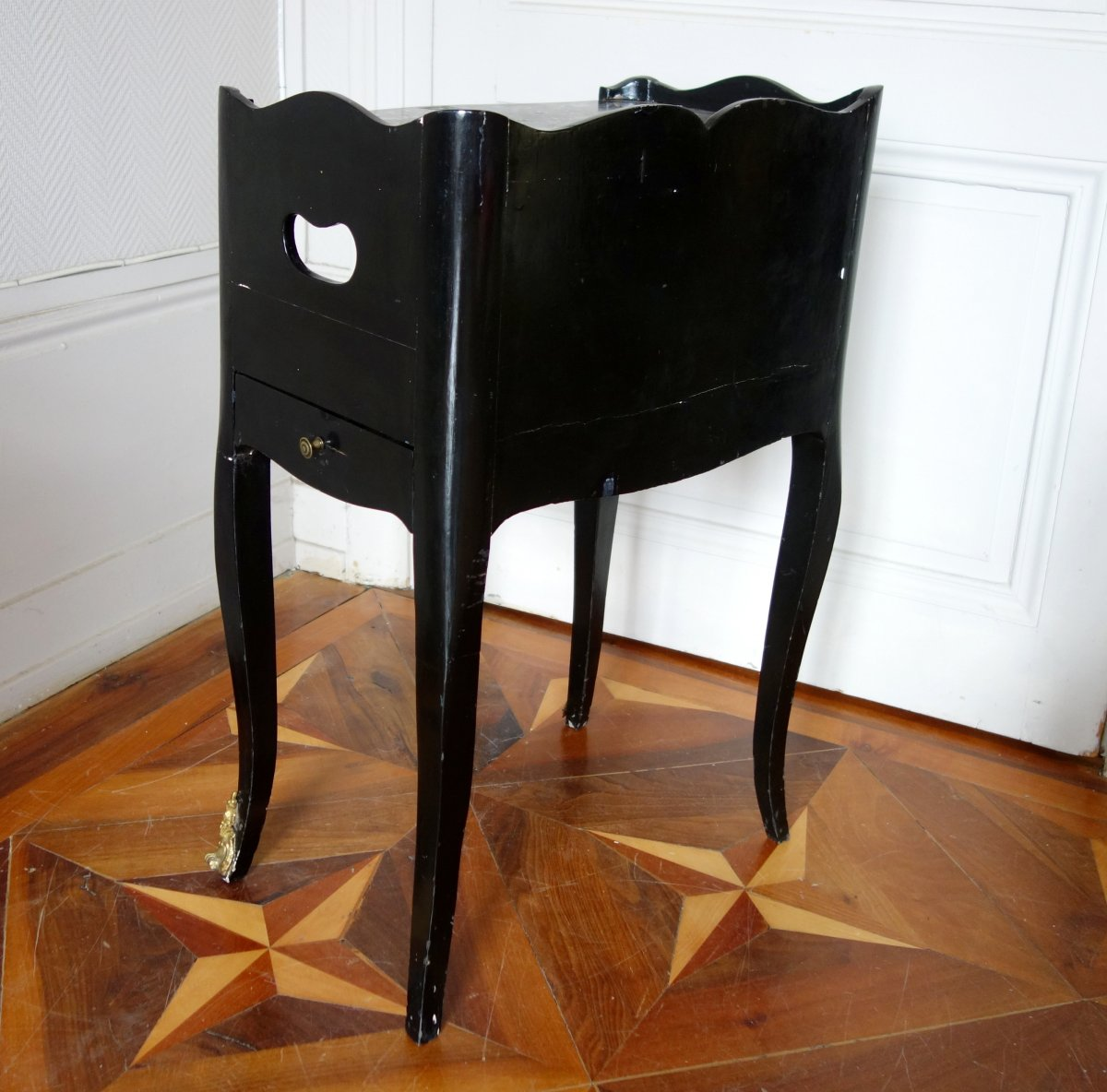 Table De Chevet De Salon d'époque Louis XV En Bois Laqué Et Marbre-photo-3