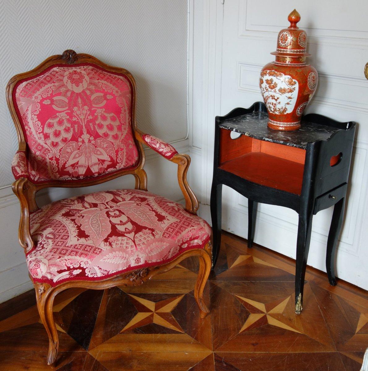 Table De Chevet De Salon d'époque Louis XV En Bois Laqué Et Marbre-photo-5