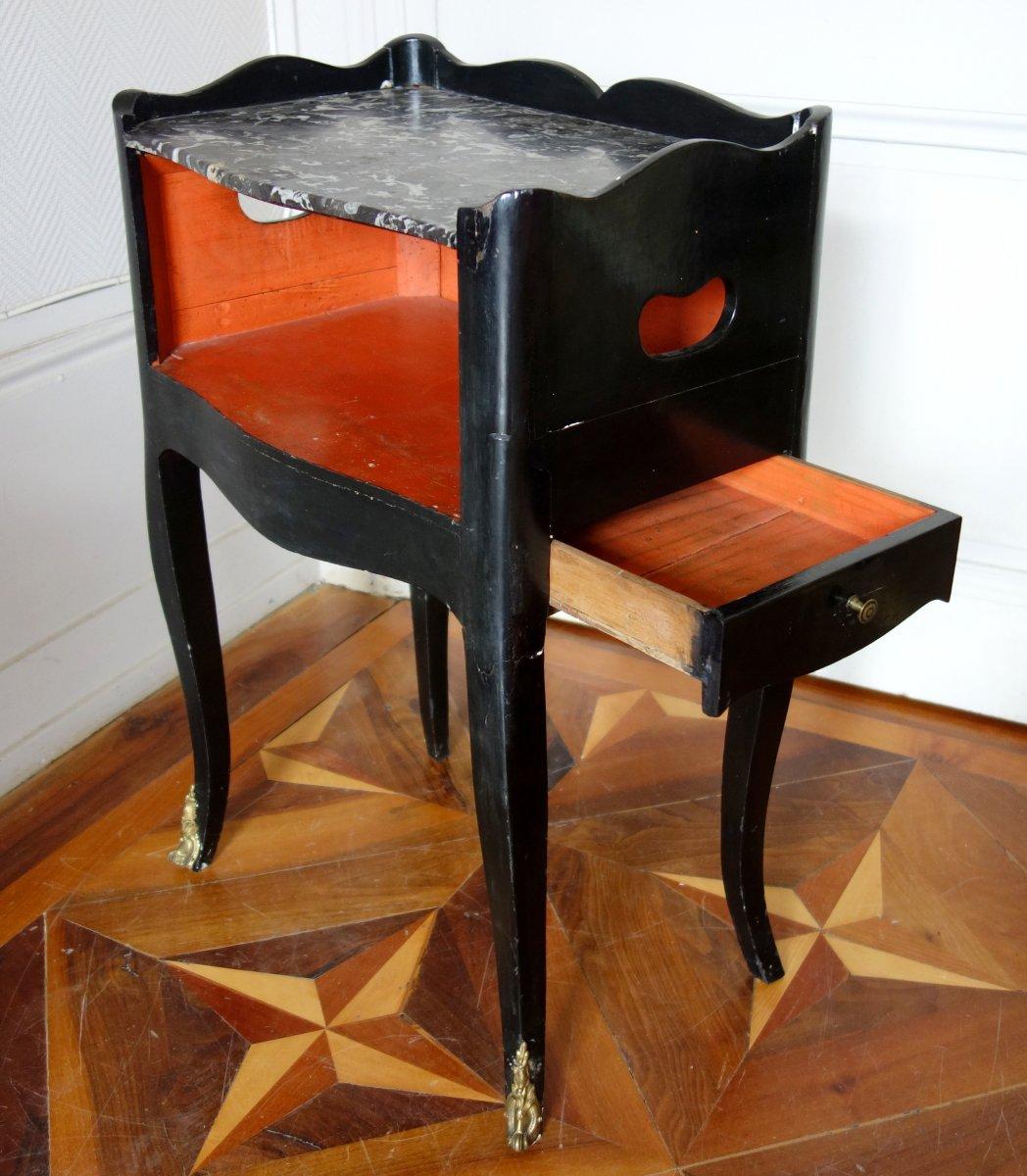 Table De Chevet De Salon d'époque Louis XV En Bois Laqué Et Marbre