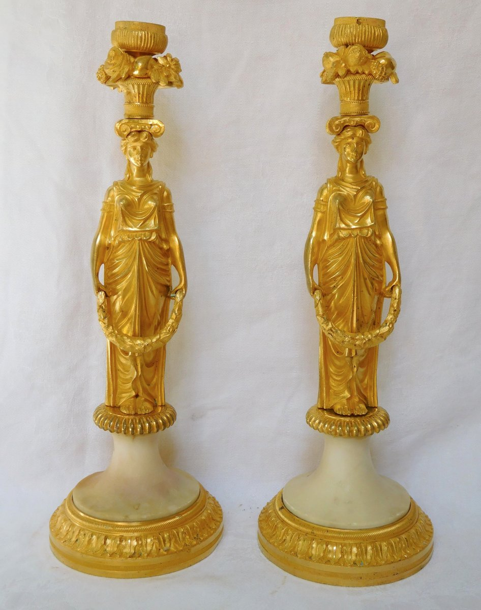 Pair Of Candlesticks, Candlesticks In Chiseled And Gilded Bronze, Russian Neo Classical Work Late 18th