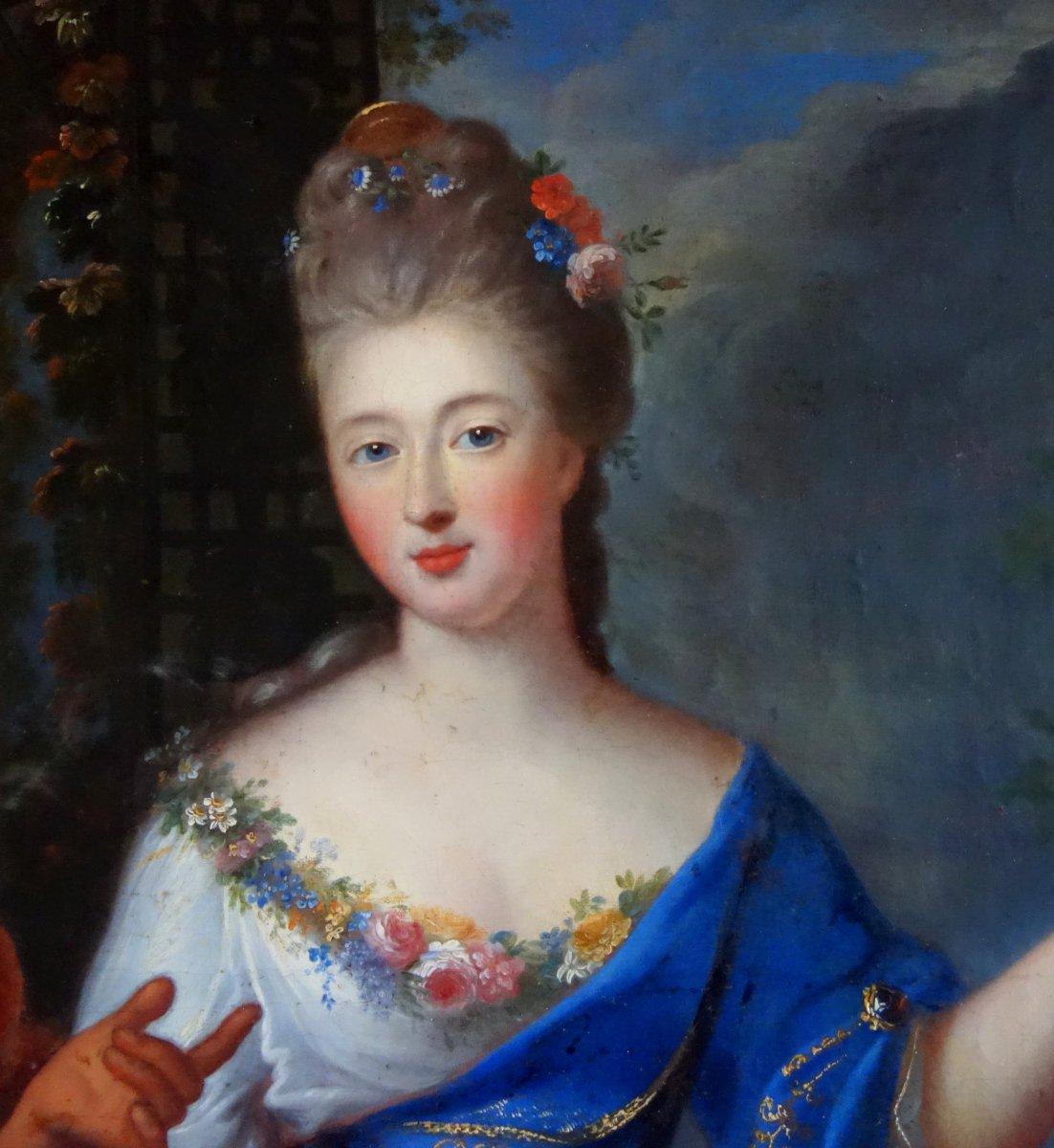 Pierre Gobert - Portrait De La Princesse De Conti En Vertumne Et Pomone - Hst 93x75cm