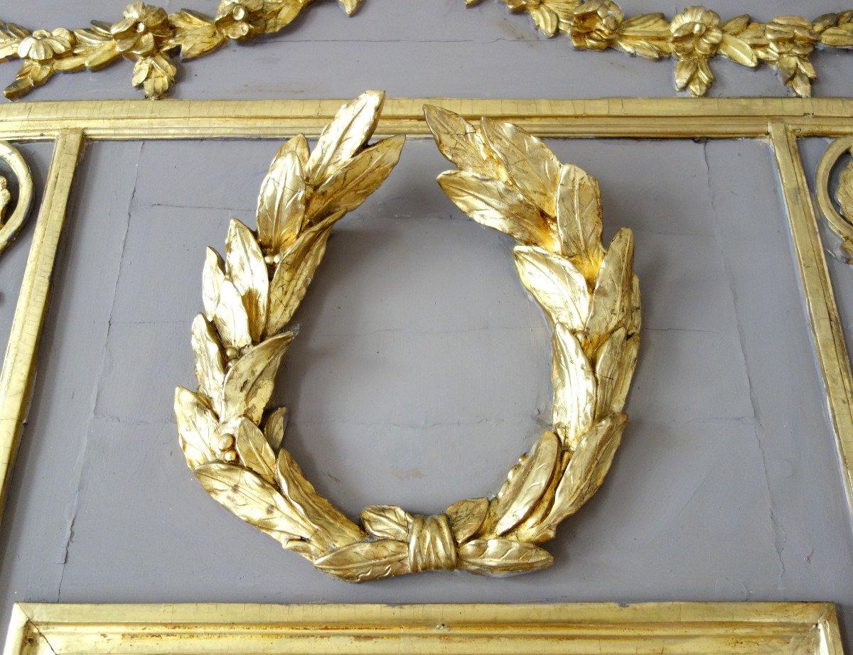 Trumeau, Miroir d'Entre Deux d'époque Louis XVI Doré à La Feuille d'Or, Glace Au Mercure-photo-2