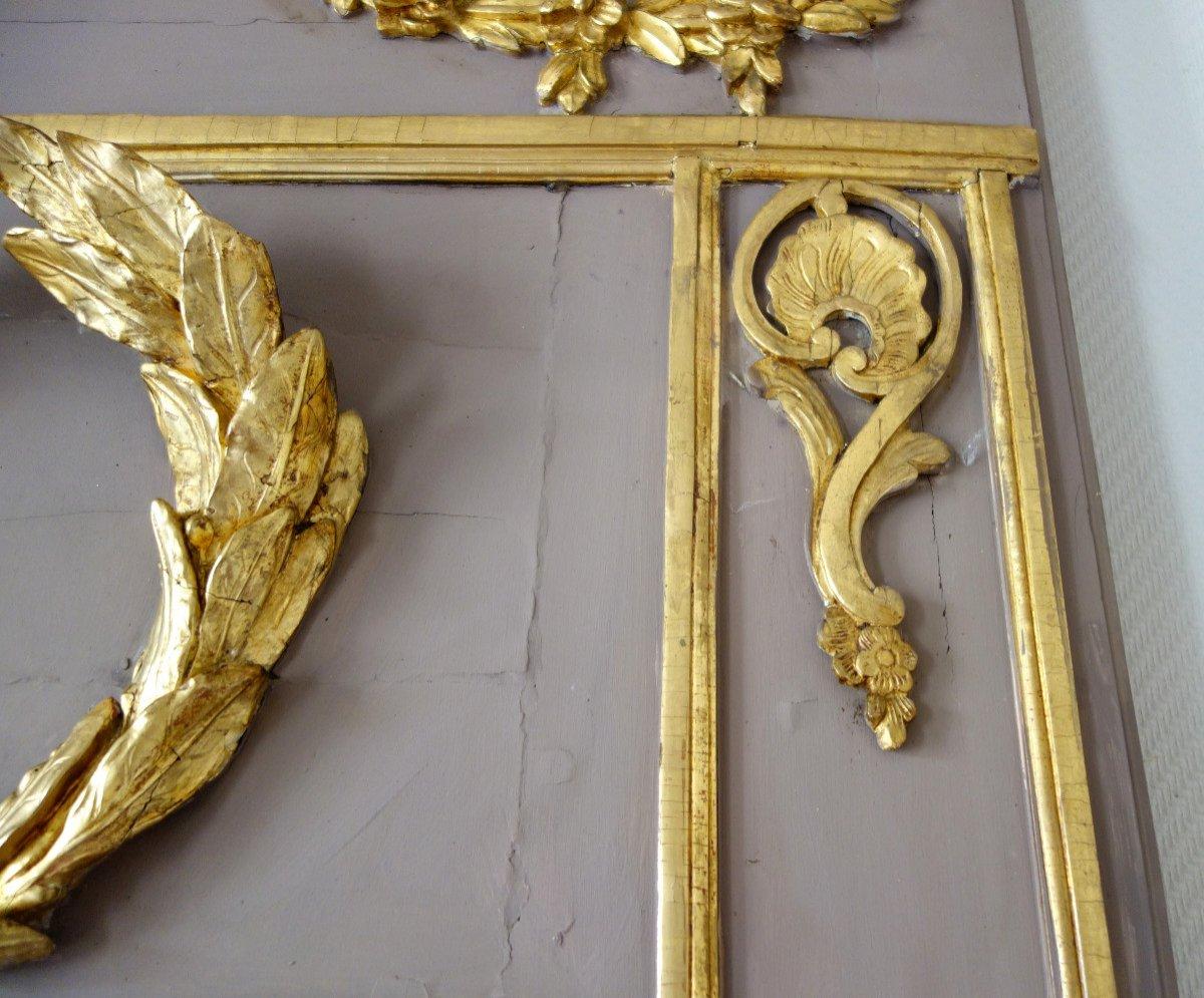 Trumeau, Miroir d'Entre Deux d'époque Louis XVI Doré à La Feuille d'Or, Glace Au Mercure-photo-3
