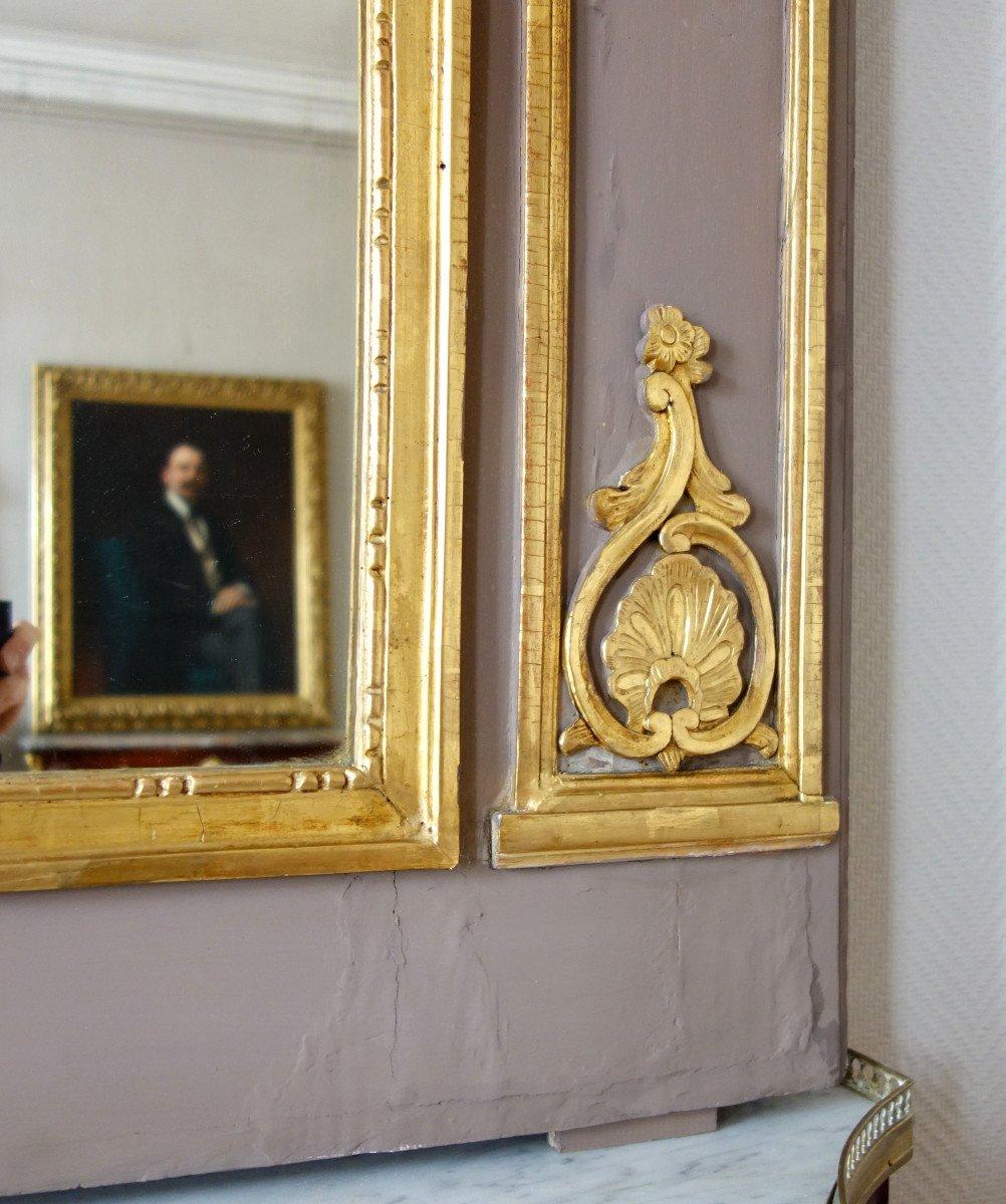 Trumeau, Miroir d'Entre Deux d'époque Louis XVI Doré à La Feuille d'Or, Glace Au Mercure-photo-5