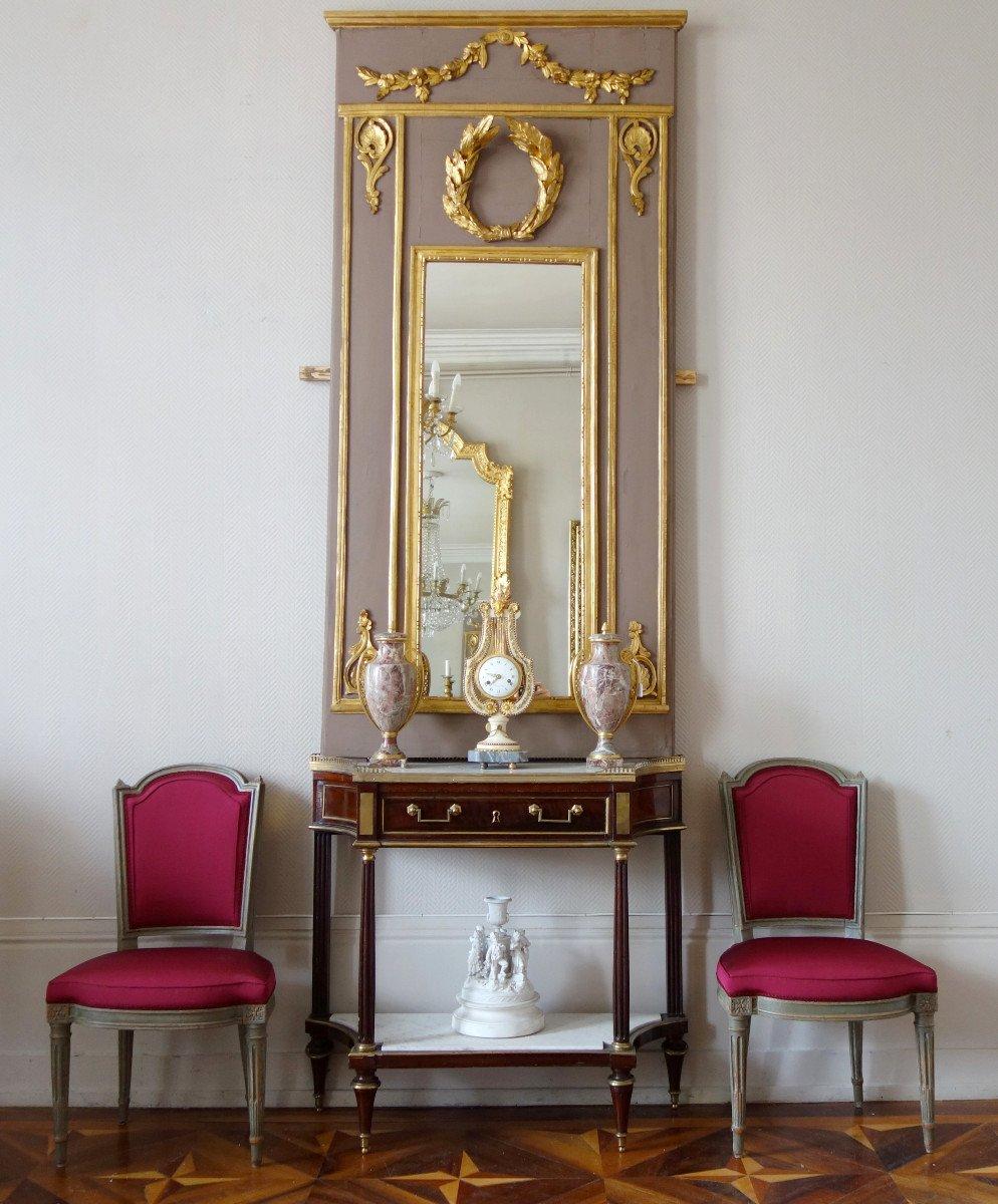 Trumeau, Miroir d'Entre Deux d'époque Louis XVI Doré à La Feuille d'Or, Glace Au Mercure-photo-6
