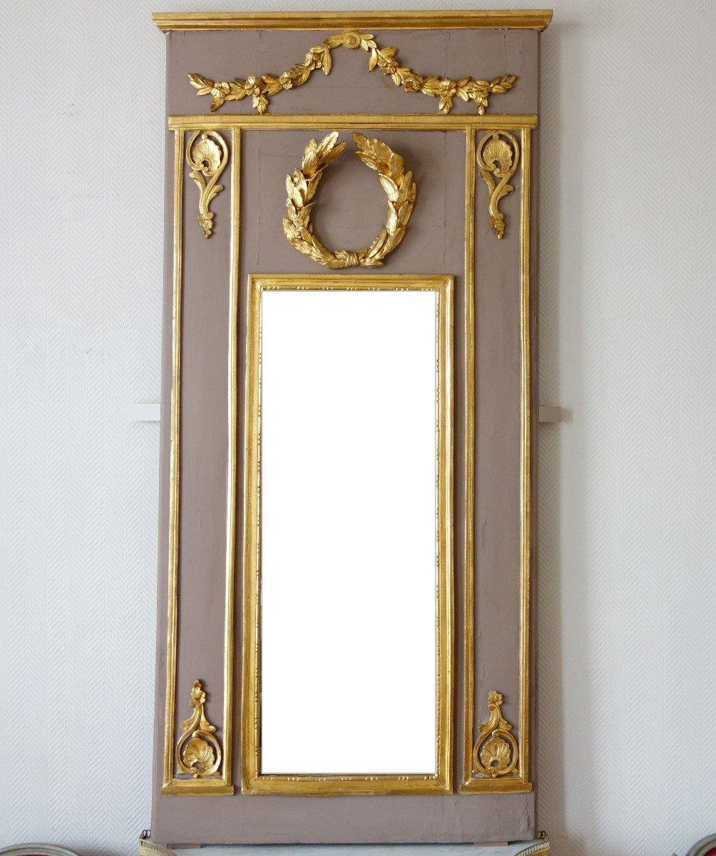 Trumeau, Miroir d'Entre Deux d'époque Louis XVI Doré à La Feuille d'Or, Glace Au Mercure