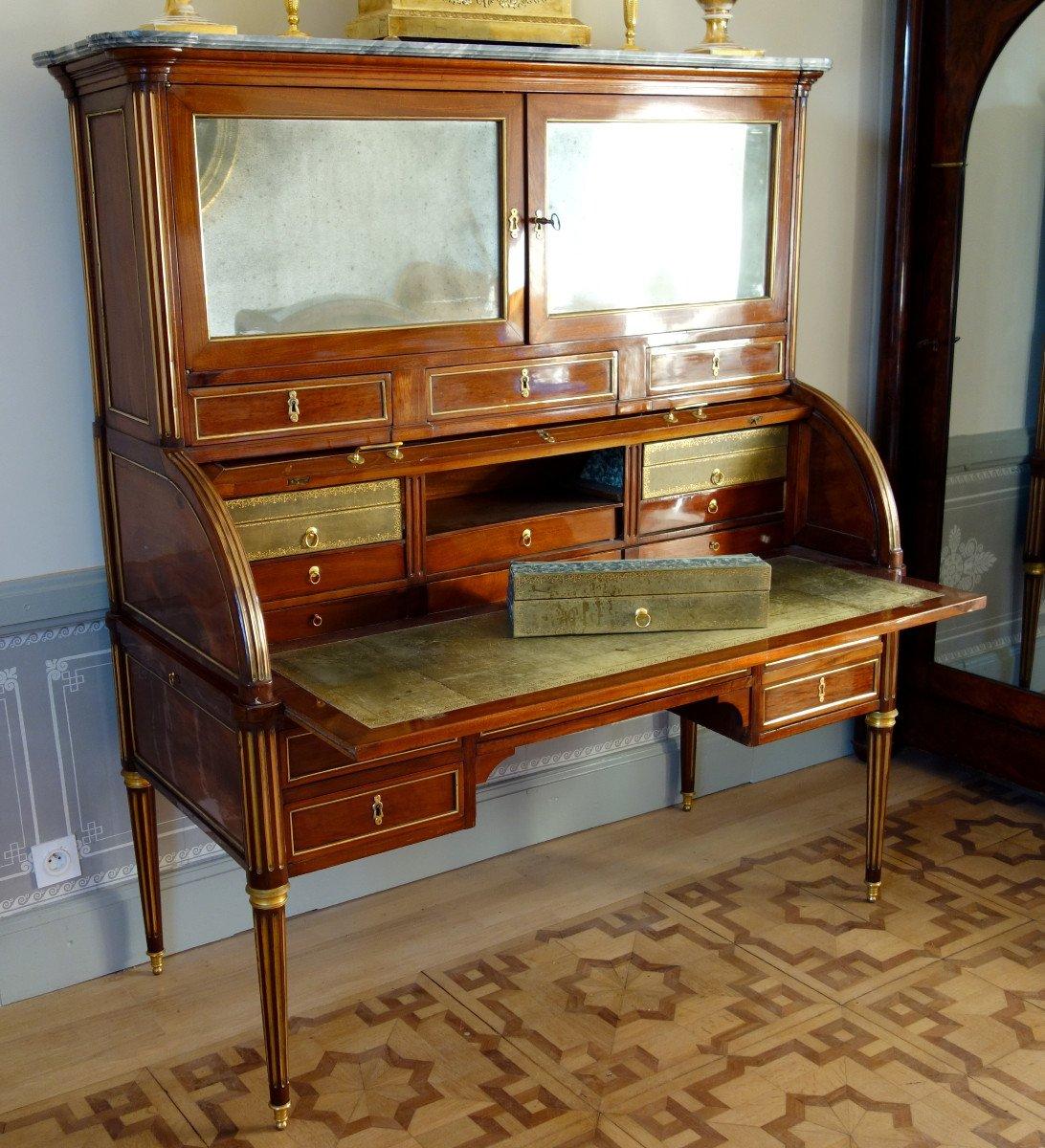 Bureau Cylindre Bibliothèque à Cartonniers En Acajou d'époque Louis XVI, Vernis Au Tampon