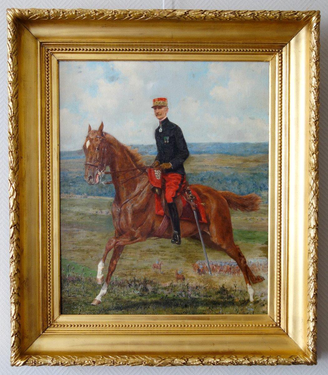 Portrait d'Un Général De Cavalerie à Cheval - Huile Sur Toile Circa 1890