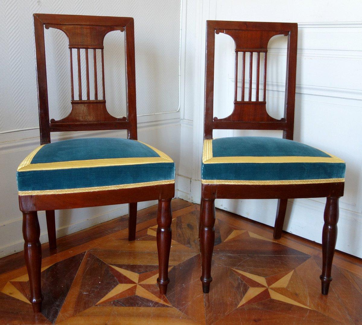 Paire De Chaises Par Jacob Pour Louis Philippe Au Chateau De Bizy - Estampilles Et Marques  Feu-photo-2