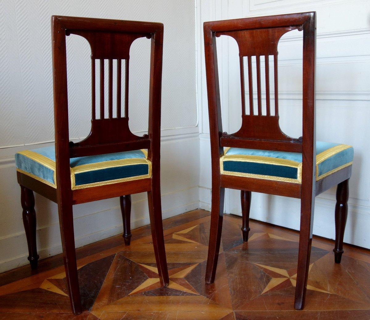 Paire De Chaises Par Jacob Pour Louis Philippe Au Chateau De Bizy - Estampilles Et Marques  Feu-photo-3