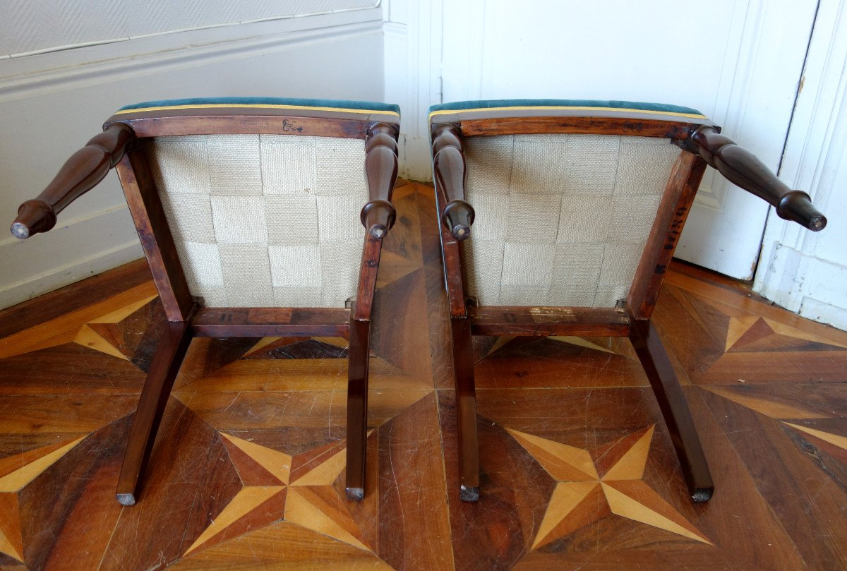 Paire De Chaises Par Jacob Pour Louis Philippe Au Chateau De Bizy - Estampilles Et Marques  Feu-photo-4