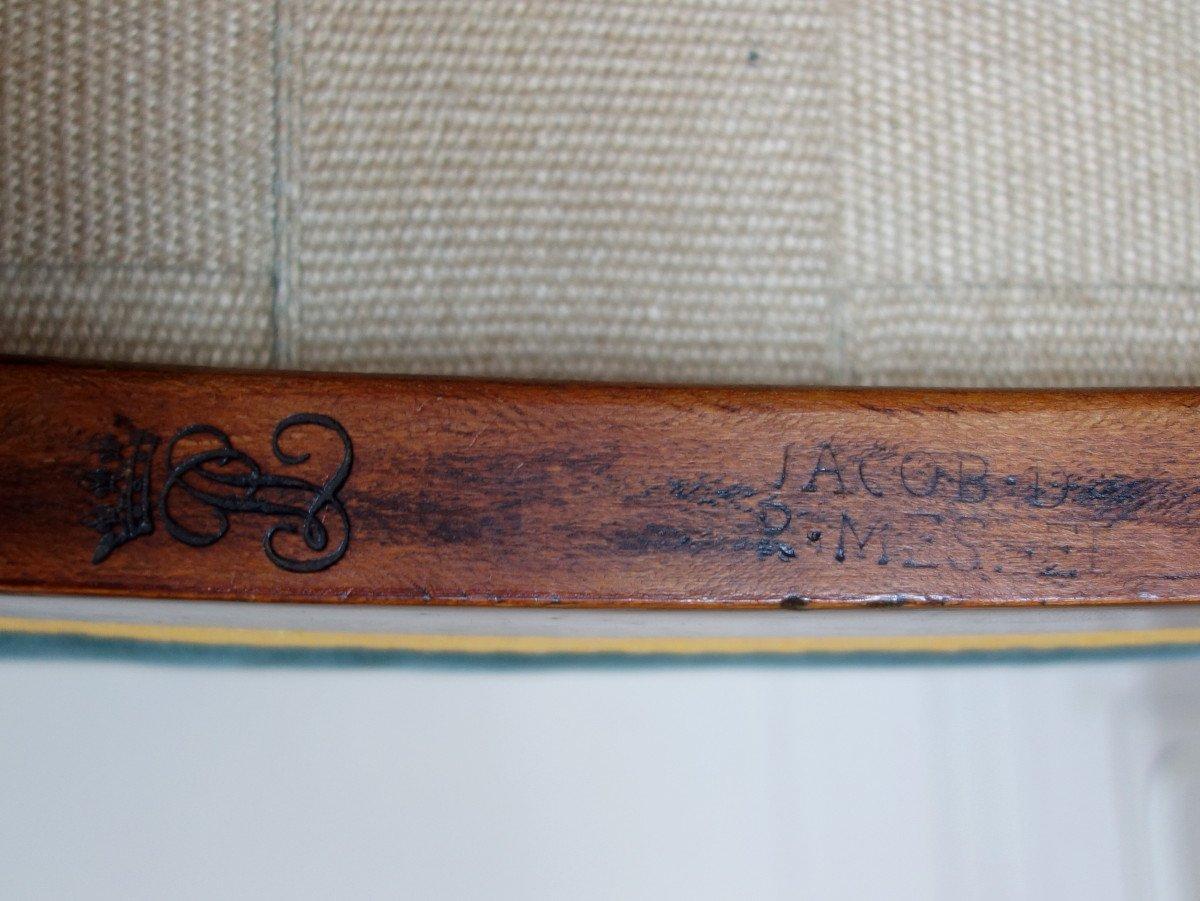 Paire De Chaises Par Jacob Pour Louis Philippe Au Chateau De Bizy - Estampilles Et Marques  Feu-photo-5