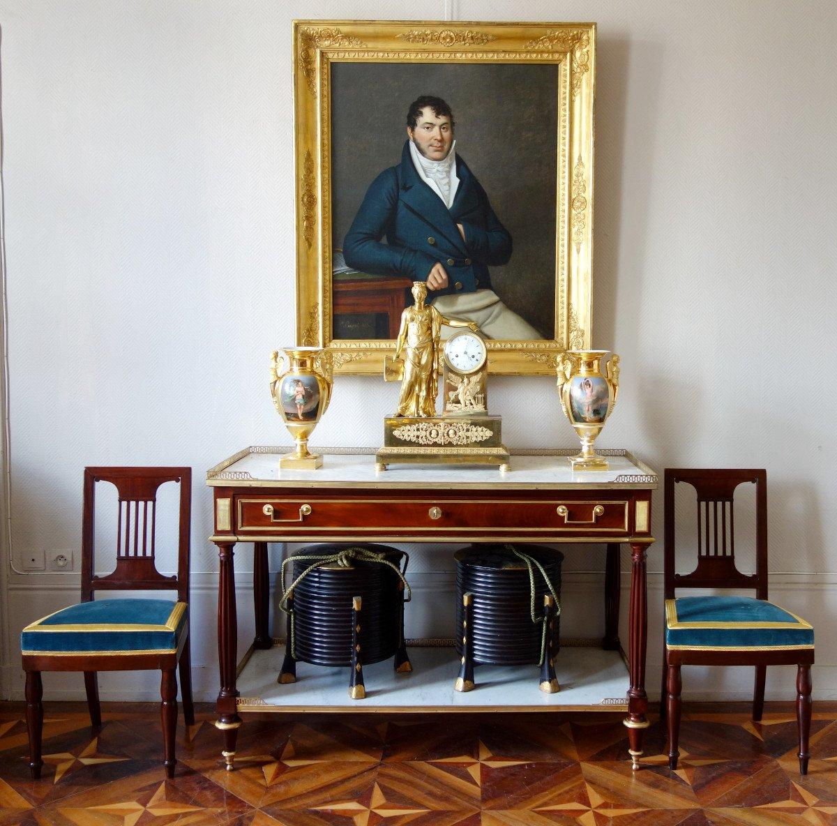 Paire De Chaises Par Jacob Pour Louis Philippe Au Chateau De Bizy - Estampilles Et Marques  Feu-photo-7