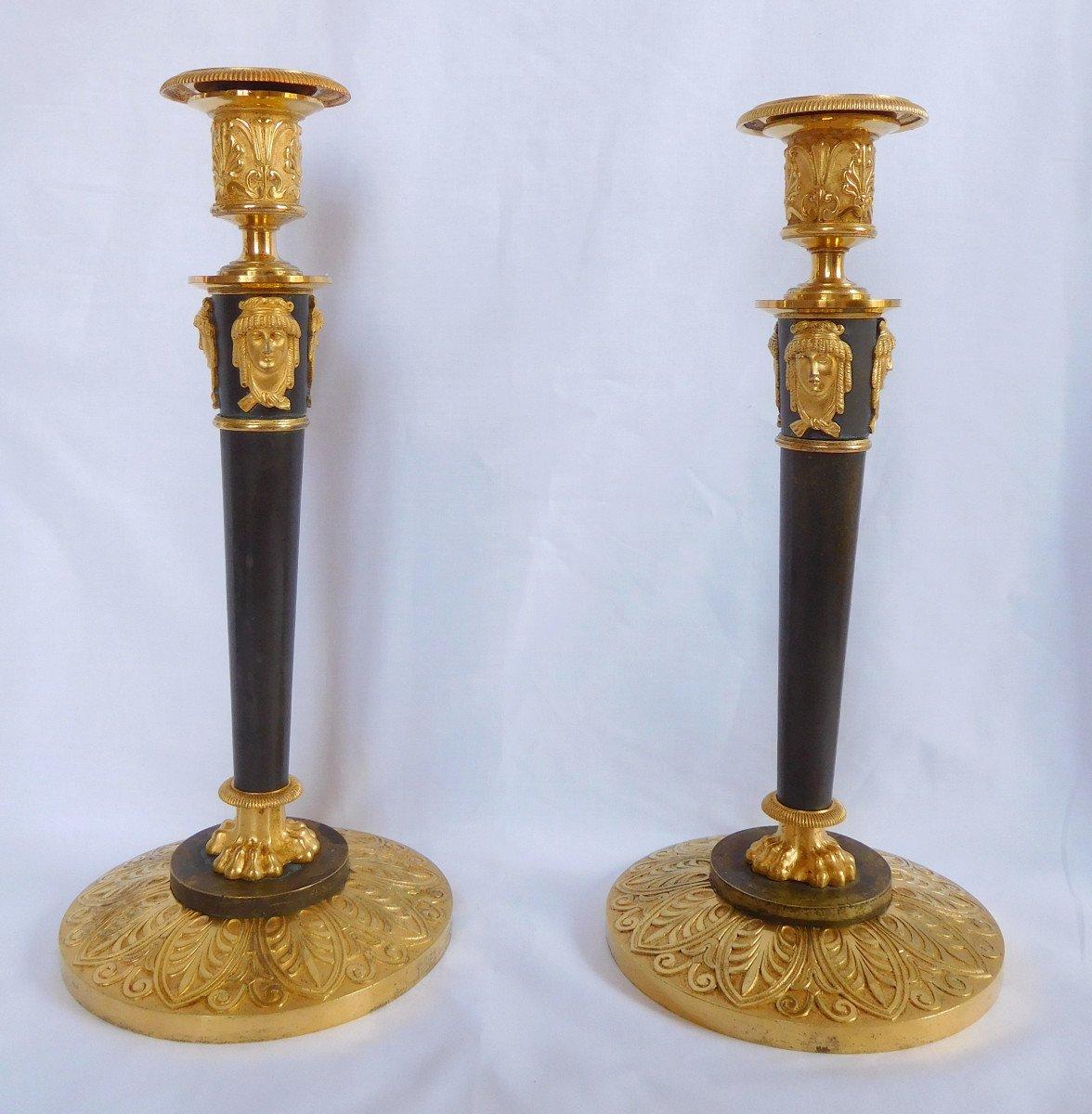 Claude Galle : Pair Of Empire Ormolu Candlesticks-photo-2