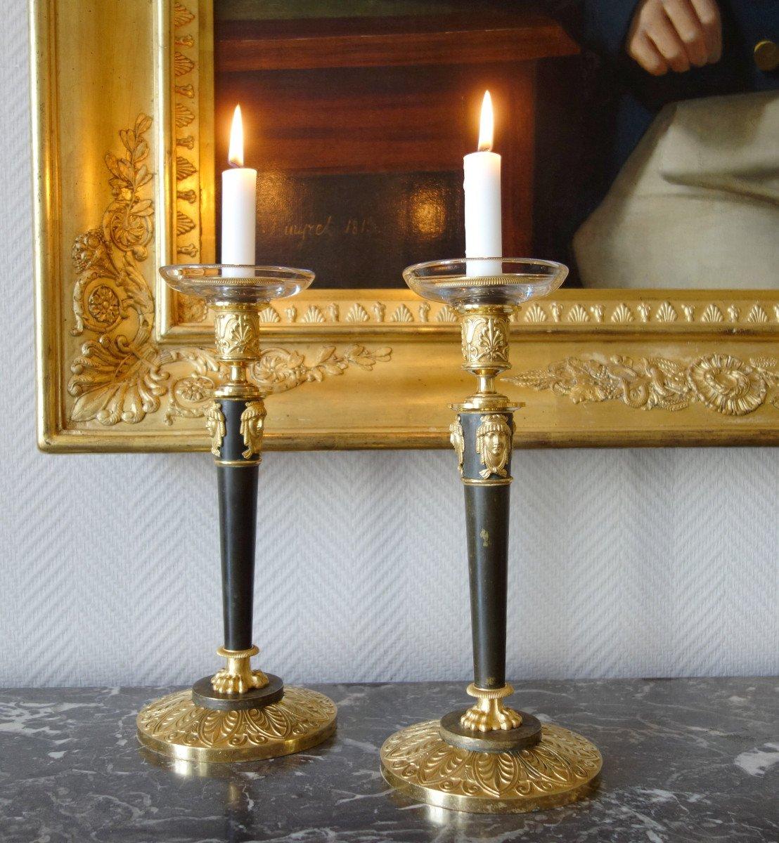 Claude Galle : Pair Of Empire Ormolu Candlesticks-photo-7