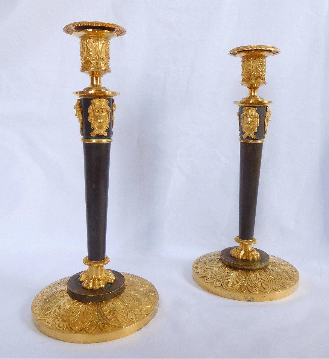 Claude Galle : Pair Of Empire Ormolu Candlesticks