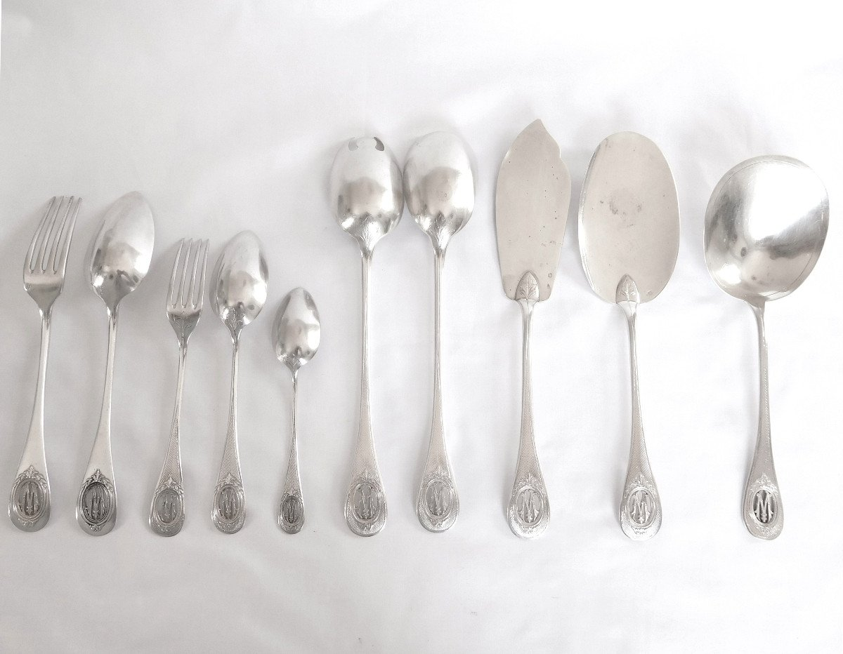 Louis XVI Style Sterling Silver Flatware For 18 : 95 Pieces - Silversmith Henin & Cie