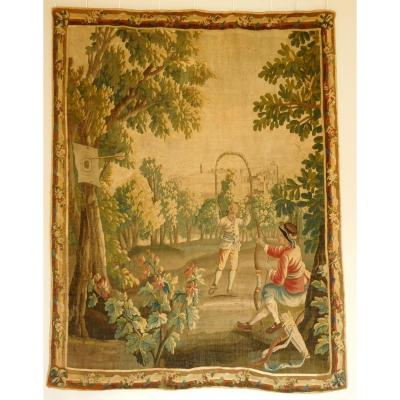 Aubusson Polychrome 18th Century Tapestry Wool And Silk Games In The Park Louis XVI 160 X 200cm