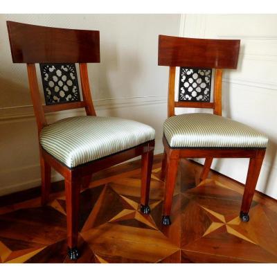 Paire De Chaises En Acajou d'époque Consulat Modèle Des Tuileries