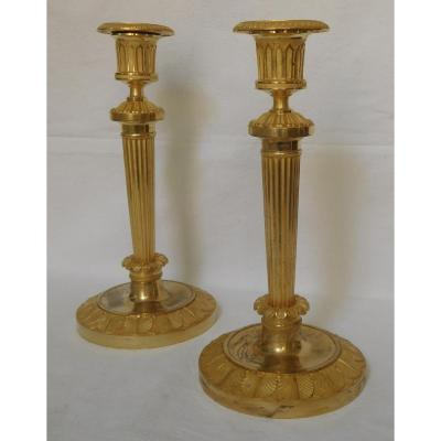 Claude Galle Model Of Chateau Fontainebleau Pair Of Candlesticks Empire - Gilt Bronze Mercury