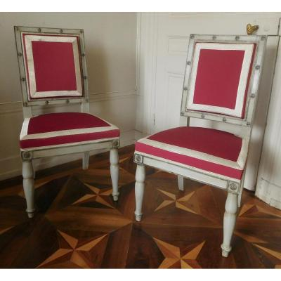 Jacob Desmalter - Chateau De Fontainebleau Pair Of Ep.empire Chairs Galons With Silver Thread