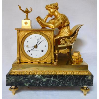 "Empire Ormolu Clock ""the Liseuse"" After Reiche By Claude Galle & Grand Girard"